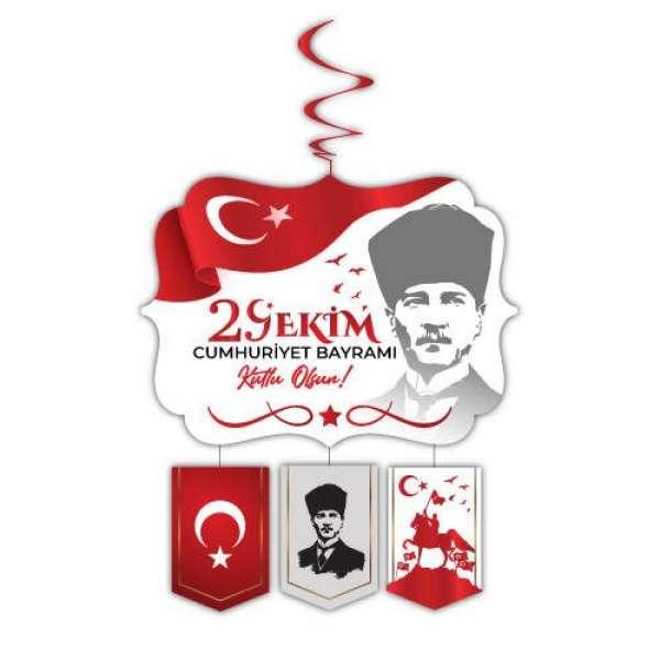 Asmalı Tavan Süs Beyaz 29 Ekim Cumhuriyet Bayramı