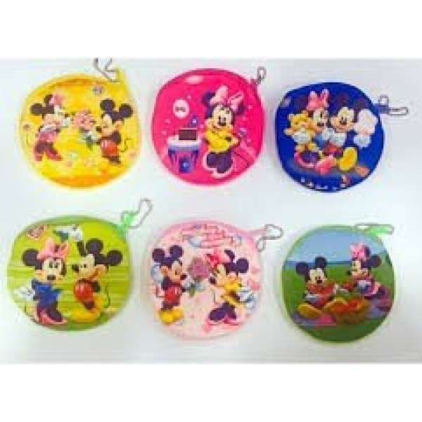 Micky Mouse Yuvarlak Anahtarlık Cüzdan 12 li Paket