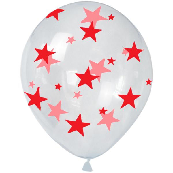 Hazır Baskı Balon Full Yıldız Şeffaf'a Kırmızı
