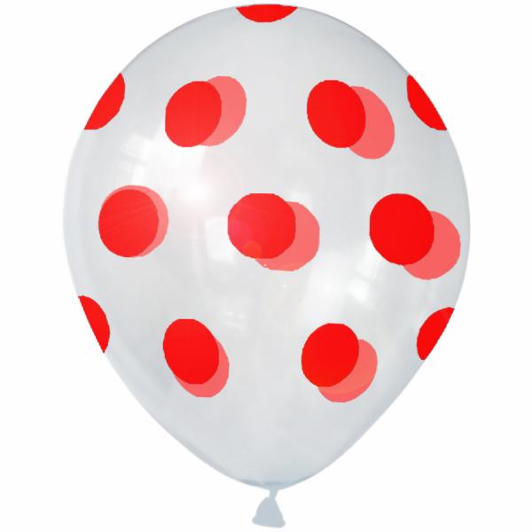 Hazır Baskı Balon Full Puanlı Şeffaf'a Kırmızı