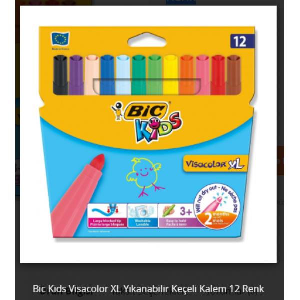 Bic Kids Visacolor XL Yıkanabilir Keçeli Kalem 12Renk