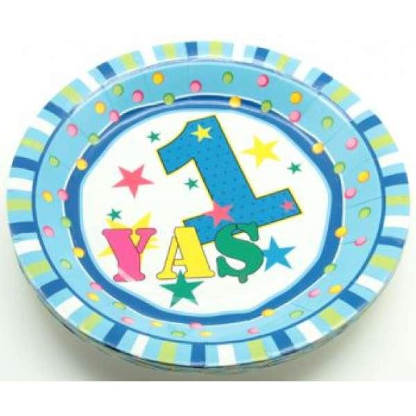 1 Yaş Doğum Günü Yuvarlak Karton Tabak 10 Adet