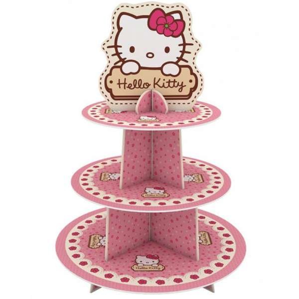 3 Katlı Hello Kitty Baskılı Karton Cupcake Standı  1 Ad./Paket