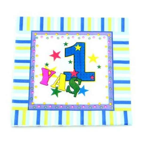1 Yaş Doğum Günü Kağıt Peçete Mavi 10'lu