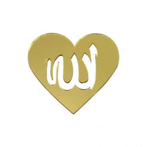 Allah Yazılı Sticker Aynalı Kalp 6cm Gold 1 Ad./Paket